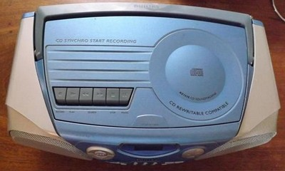 combin radio cd cassette enregistreur philips bleu. Black Bedroom Furniture Sets. Home Design Ideas
